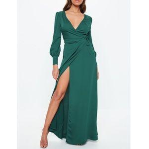 Teal Satin Wrap Maxi Dress